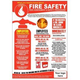 Fire safety 420w x 595h  health and safety poster