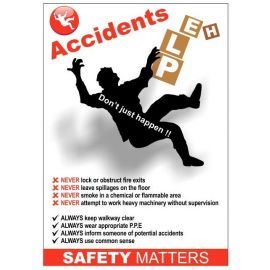 Accidents help 420w x 595h health and safety poster