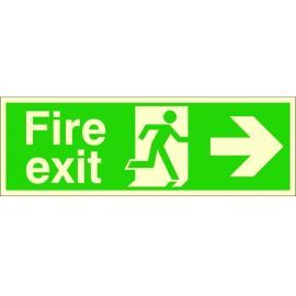 Extra Large Glow in the Dark Fire Exit Right Sign 900mm x 300mm - Rigid Plastic