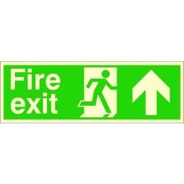 Extra Large Glow in the Dark Fire Exit Up Sign 900mm x 300mm - Rigid Plastic
