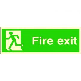Fire Exit 'Man Running Left' Glow In Dark Sign