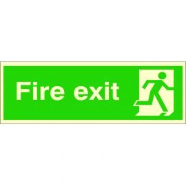 Photoluminescent Fire Exit 'Man Running Right' Sign