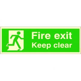 Glow In The Dark Fire Exit Keep Clear Sign