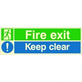Photoluminescent Fire Exit Keep Clear Sign (Green/Blue)