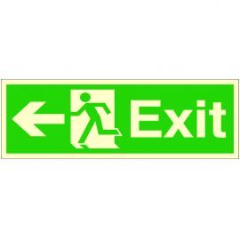 Exit Arrow Left Glow In Dark Sign