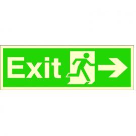 Exit Arrow Right Glow In Dark Sign