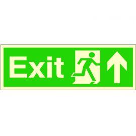Exit Arrow Up Glow In Dark Sign