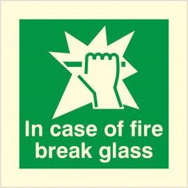 Photoluminescent In Case Of Fire Break Glass Sign