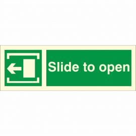 Slide To Open 'Left' Glow In Dark Sign