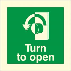 Glow In The Dark Turn To Open Anti Clockwise Door Sign