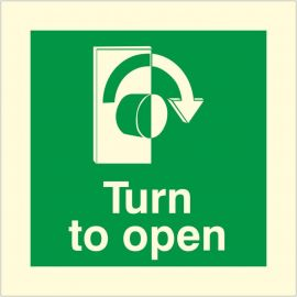 Glow In The Dark Turn To Open Clockwise Door Sign