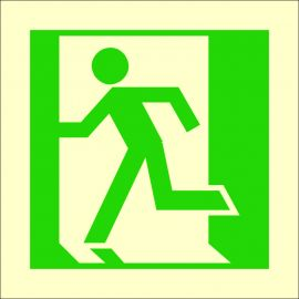 Photoluminescent 'Man Running Left' Symbol Sign