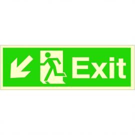 Exit Arrow Down Left Glow In Dark Sign