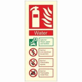 Glow In The Dark Water Fire Extinguisher Identification Sign