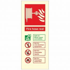 Glow In The Dark Fire Hose Reel Fire Extinguisher Identification Sign