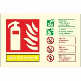Glow In The Dark Wet Chemical Fire Extinguisher Identification Sign