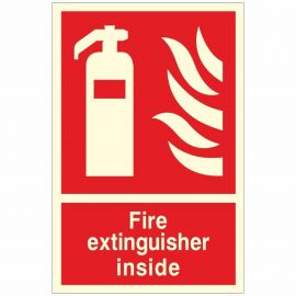 Fire Extinguisher Inside Glow In Dark Sign