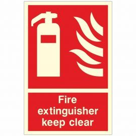Fire Extinguisher Keep Clear Glow In Dark Sign