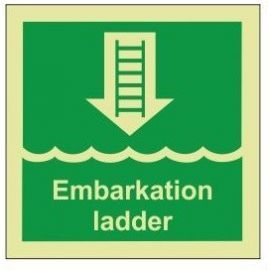 Embarkation ladder photoluminescent 100W  x  110H   sign rigid plastic