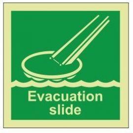 Evacuation slide photoluminescent 100W x 110H sign rigid plastic
