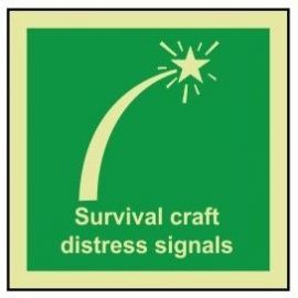 Survival craft distress signals photoluminescent 100W  x  110H sign rigid plastic