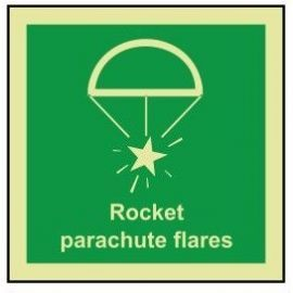 Rocket parachute flares photoluminescent 100W  x  110H  sign rigid plastic