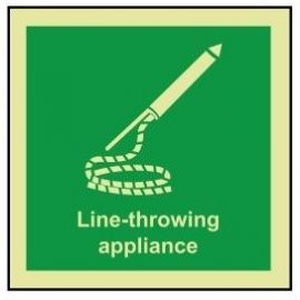 Line-throwing appliance photoluminescent 100x110mm sign rigid plastic