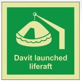 Davit launched liferaft photoluminescent 100W  x  110H  sign rigid plastic