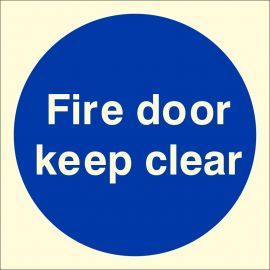 Photoluminescent Fire Door Keep Clear Sign