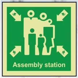 Assembly station photoluminescent 100W  x  110W  sign rigid plastic
