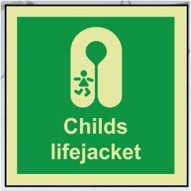 Childs lifejacket photoluminescent 100W  x  110H  sign rigid plastic