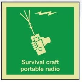 Survival craft portable radio photoluminescent 100W  x  110H   sign self adhesive