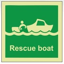 Rescue boat photoluminescent 100W  x  110H   sign rigid plastic
