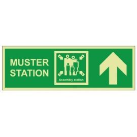Muster Station Assembly Station Arrow Up Sign - Rigid Plastic