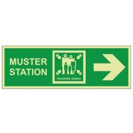 Muster Station Assembly Station Arrow Right Sign - Rigid Plastic