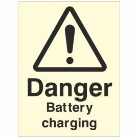 Photoluminescent Danger Battery Charging Sign