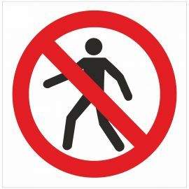 No Pedestrians Symbol Sign - 200w x 200h