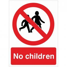 No Children Sign - 150w x 200h