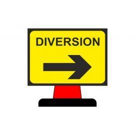 Diversion Arrow Right Plastic Aluminium Composite Cone Sign