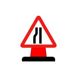 Road Narrows To The Left Aluminium Composite Cone Sign