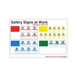 Safety Signs At Work Sign - Aluminium Composite Board- 1200W  x  800H