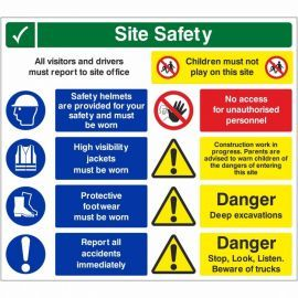 Site Safety All Visitors And Drivers Must Report To Site Office Multi Message Safety Board