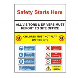 Site Entrance Sign - Site Safety Starts Here 900WX1200Hmm