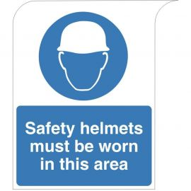 Curve Top Safety Helmets Must Be Worn In This Area Sign