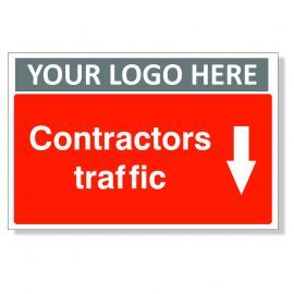 Contractors Traffic Arrow Down Custom Logo Sign