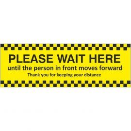 Please Wait Here Hanging Sign