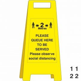 Please Queue Here To Be Served Freestanding Sign - With Spare Numbers
