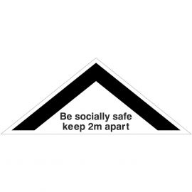 Be Socially Safe Keep 2m Apart Floor Sticker 450mm x 180mm (White)