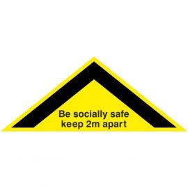 Be Socially Safe Keep 2m Apart Floor Sticker 450mm x 180mm - Yellow