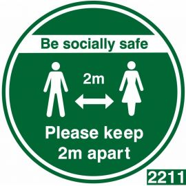 Be Socially Safe Keep 2m Apart Floor Sticker - Green